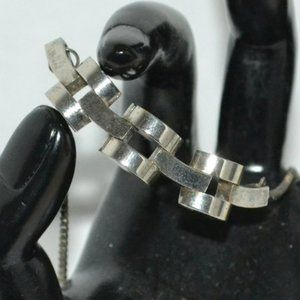 Vintage MCM 60's Silver Sculptural Chunky Necklace